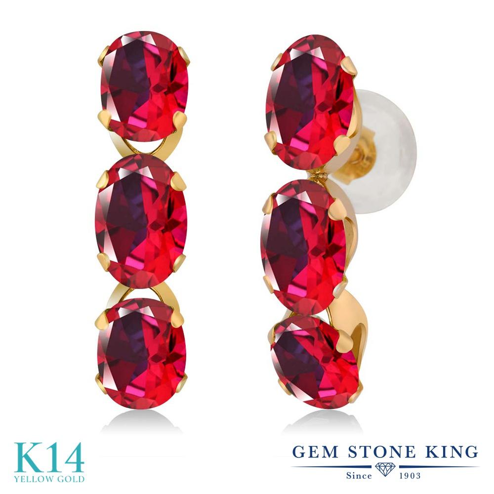 3カラット 天然石 レッドトパーズ (スワロフスキー 天然石) ピアス レディース 14金 イエローゴールド K14 ブランド おしゃれ 赤 小粒 ぶら下がり 華奢 細身 金属アレルギー対応