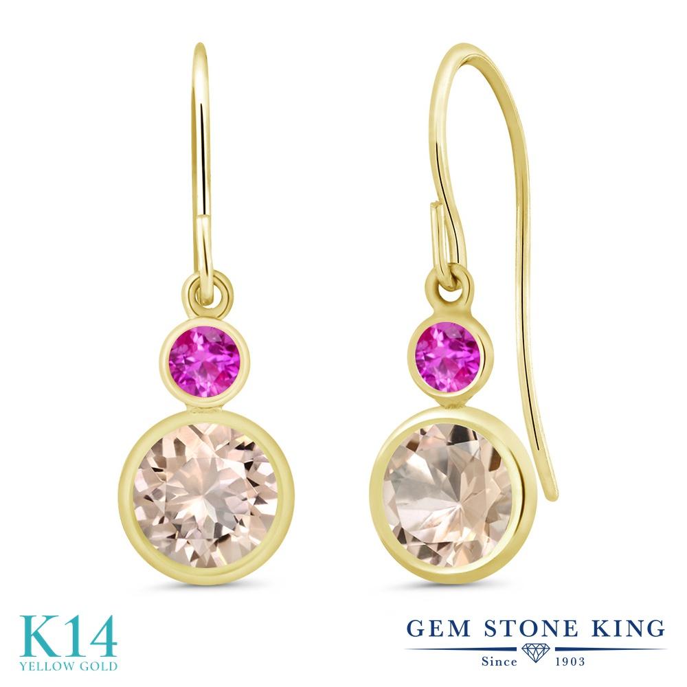 Gem Stone King 1.46カラット 天然 モルガナイト (ピーチ) ピンクサファイア 14金 イエローゴールド(K14) ピアス レディース ぶら下がり フレンチワイヤー 天然石 3月 誕生石 金属アレルギー対応 誕生日プレゼント