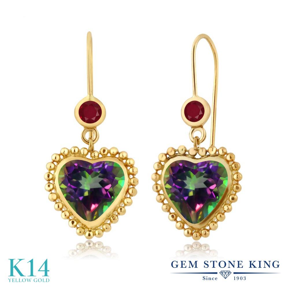 Gem Stone King 5.28カラット 天然石 ミスティックトパーズ (グリーン) 天然 ルビー 14金 イエローゴールド(K14) ピアス レディース 大粒 ぶら下がり レバーバック 天然石 金属アレルギー対応 誕生日プレゼント