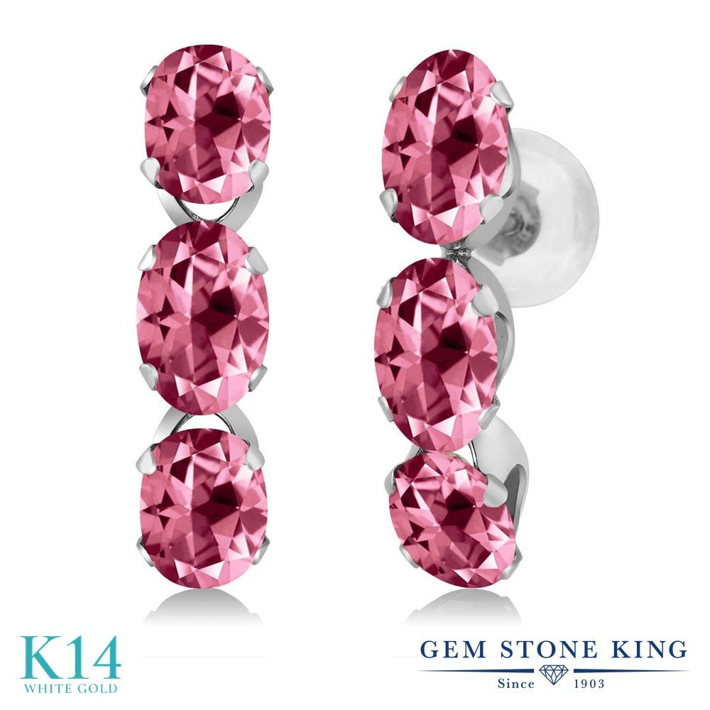 Gem Stone King 3カラット 天然石 ピンクトパーズ (スワロフスキー 天然石シリーズ) 14金 ホワイトゴールド(K14) ピアス レディース 小粒 ぶら下がり 華奢 細身 天然石 金属アレルギー対応 誕生日プレゼント
