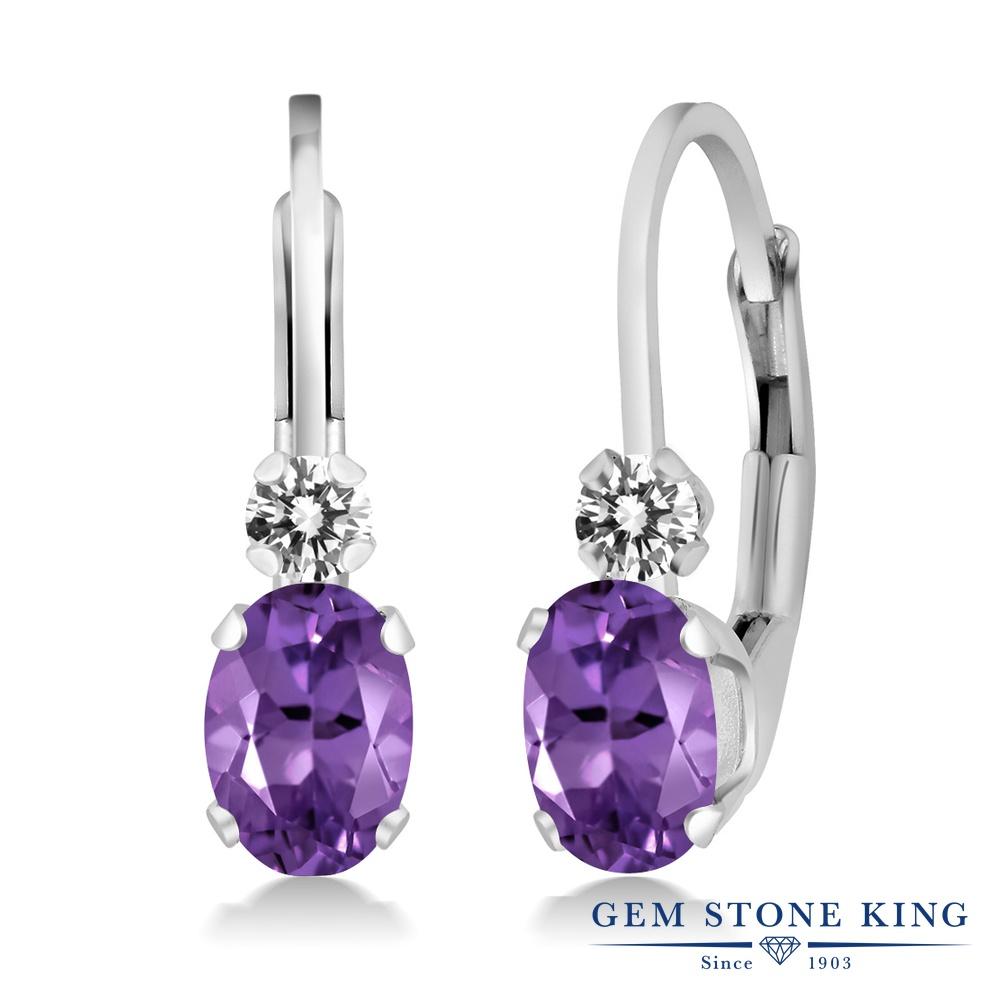 Gem Stone King 0.77カラット 天然アメジスト シルバー925 天然ダイヤモンド ピアス レディース 小粒 ぶら下がり レバーバック 天然石 誕生石 金属アレルギー対応 誕生日プレゼント