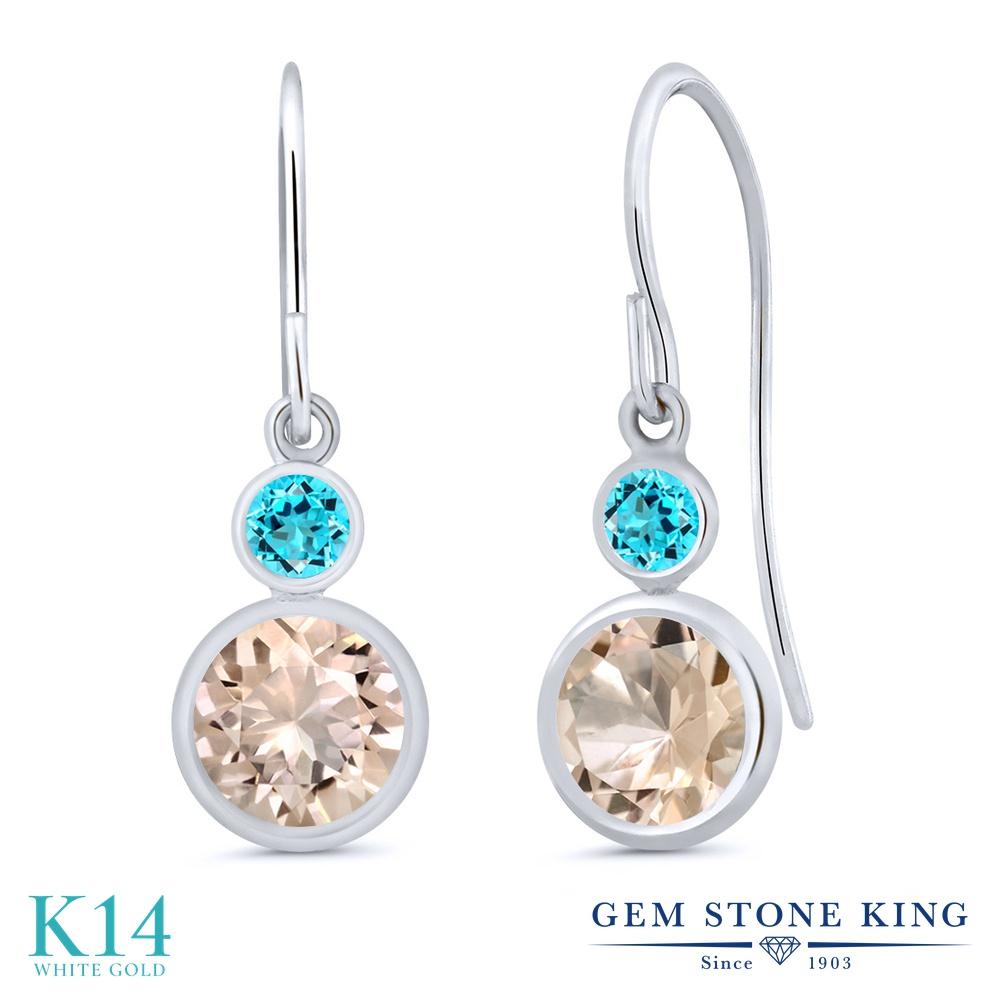 Gem Stone King 1.5カラット 天然 モルガナイト (ピーチ) 天然 スイスブルートパーズ 14金 ホワイトゴールド(K14) ピアス レディース ぶら下がり フレンチワイヤー 天然石 3月 誕生石 金属アレルギー対応 誕生日プレゼント