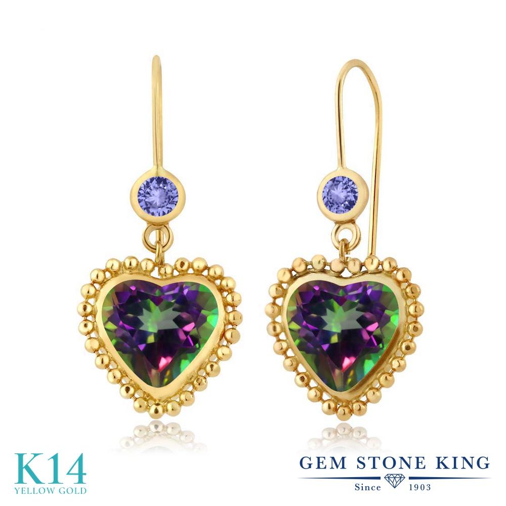 Gem Stone King 5.24カラット 天然石 ミスティックトパーズ (グリーン) 天然石 タンザナイト 14金 イエローゴールド(K14) ピアス レディース 大粒 ぶら下がり レバーバック 天然石 金属アレルギー対応 誕生日プレゼント