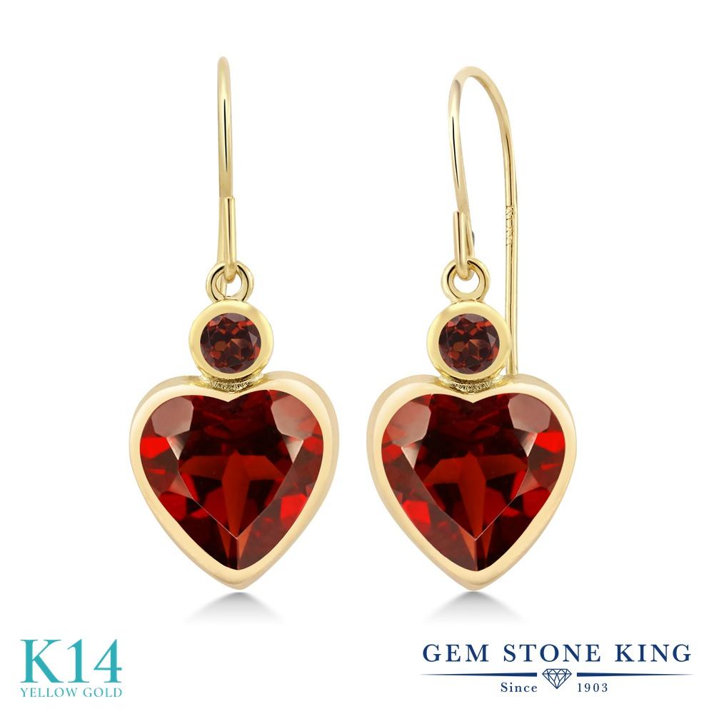 Gem Stone King 4.24カラット 天然 ガーネット 14金 イエローゴールド(K14) ピアス レディース 大粒 ぶら下がり フレンチワイヤー 天然石 1月 誕生石 金属アレルギー対応 誕生日プレゼント