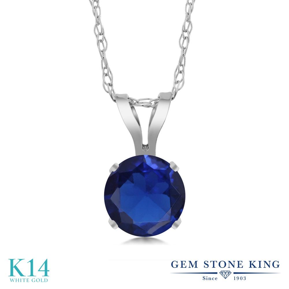 Gem Stone King 0.6カラット シミュレイテッド サファイア 14金 ホワイトゴールド(K14) ネックレス ペンダント レディース 一粒 シンプル 金属アレルギー対応 誕生日プレゼント