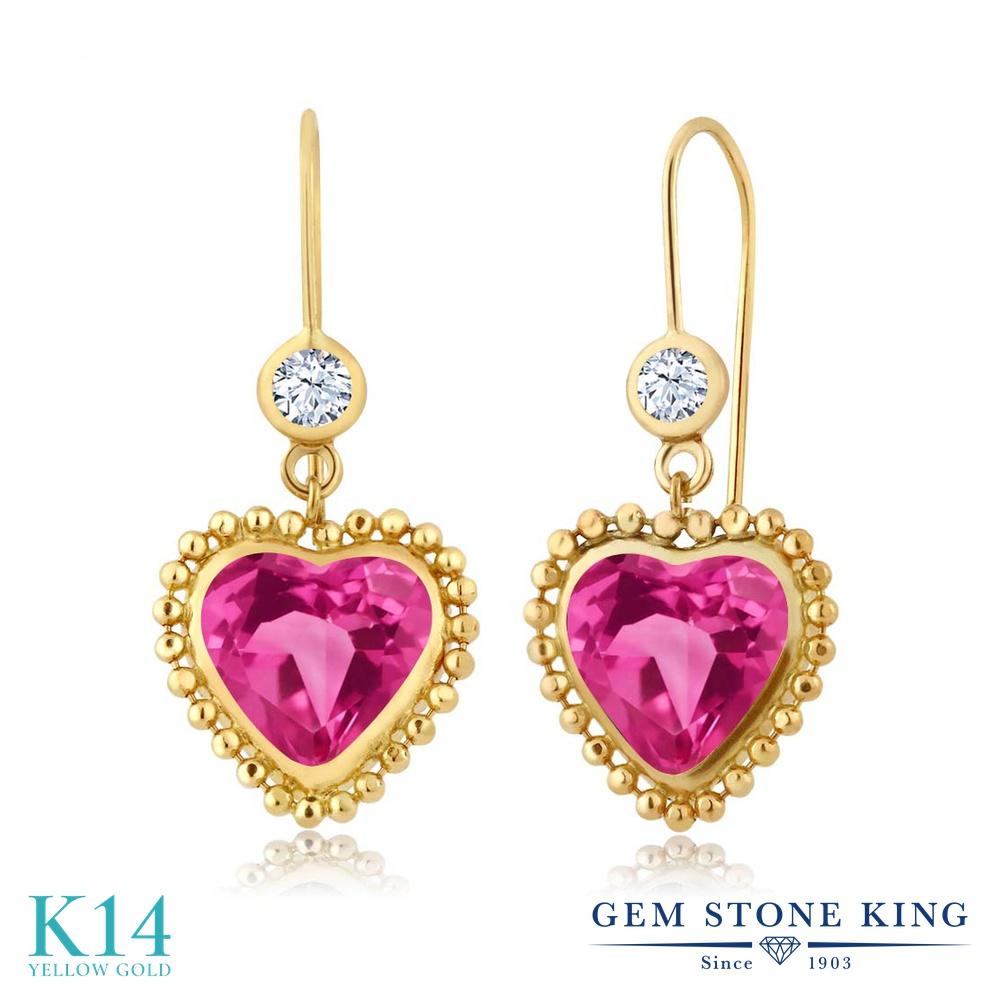 Gem Stone King 4.68カラット 天然 ミスティックトパーズ (ピンク) 天然 トパーズ (無色透明) 14金 イエローゴールド(K14) ピアス レディース 大粒 ぶら下がり レバーバック 天然石 金属アレルギー対応 誕生日プレゼント