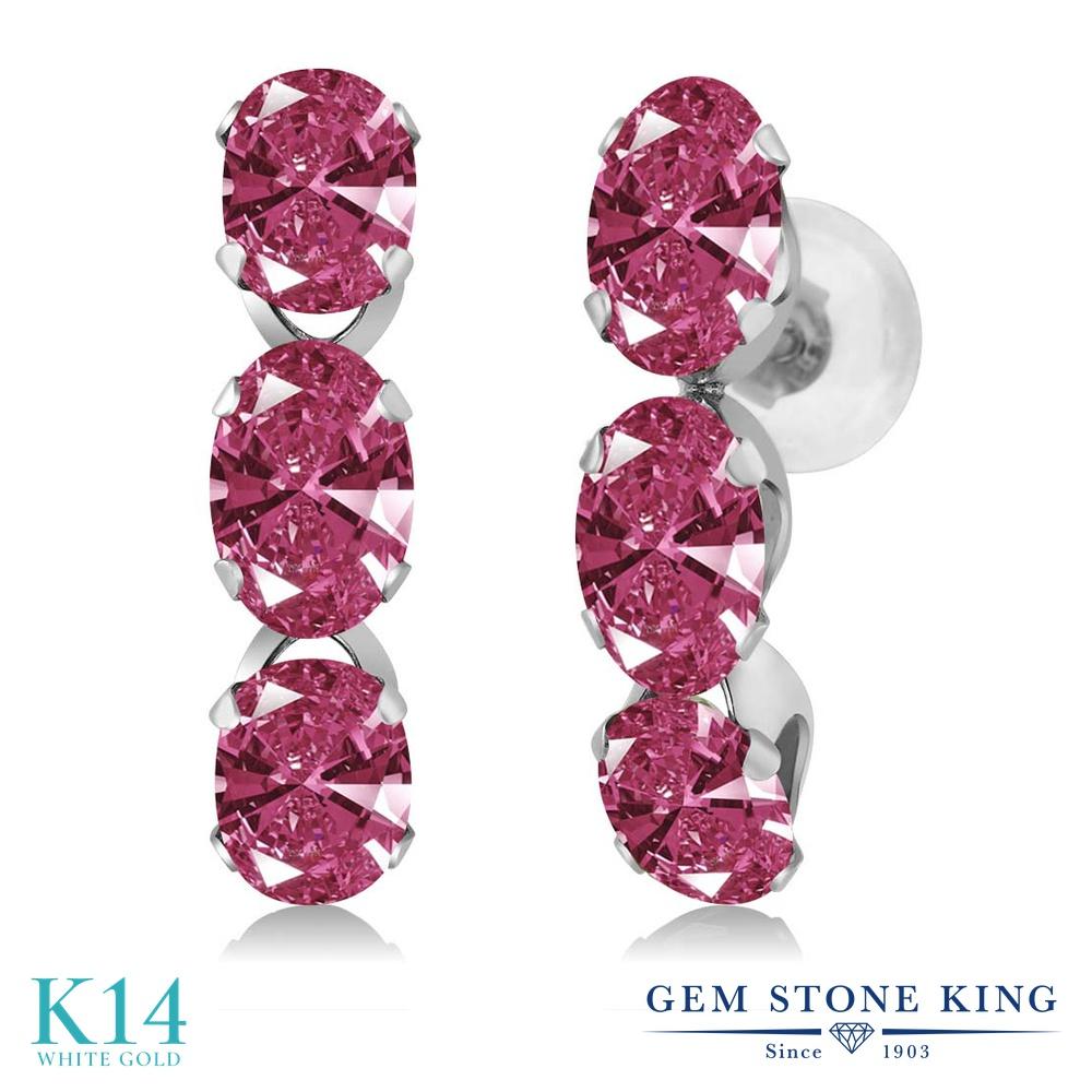 Gem Stone King スワロフスキージルコニア(レッド) 14金 ホワイトゴールド(K14) ピアス レディース CZ 小粒 ぶら下がり 金属アレルギー対応 誕生日プレゼント