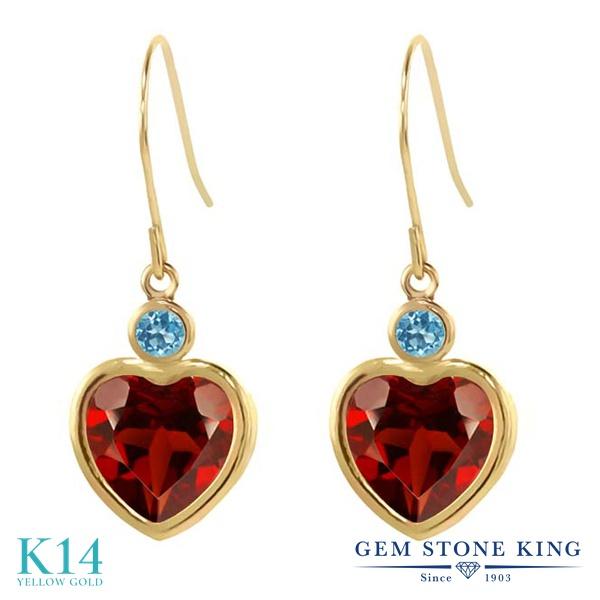 Gem Stone King 4.3カラット 天然 ガーネット 天然 スイスブルートパーズ 14金 イエローゴールド(K14) ピアス レディース 大粒 ぶら下がり フレンチワイヤー 天然石 1月 誕生石 金属アレルギー対応 誕生日プレゼント