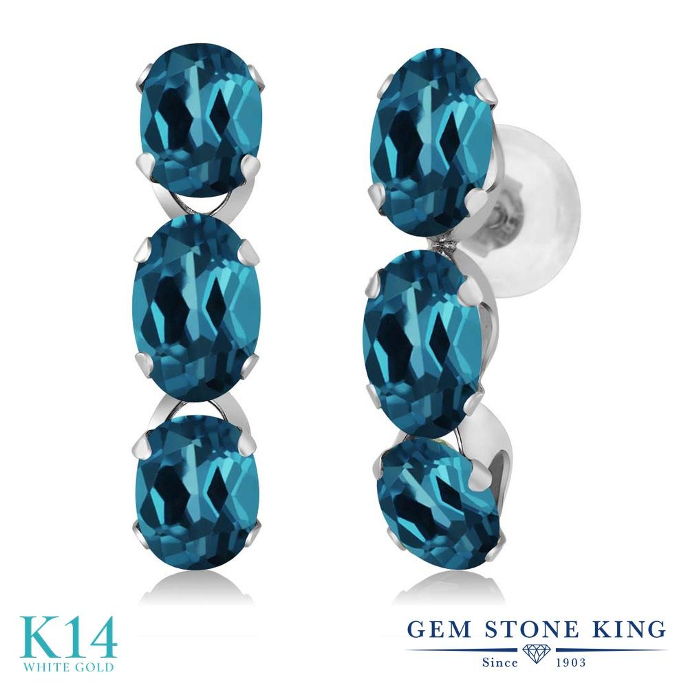 Gem Stone King 3カラット 天然 ロンドンブルートパーズ 14金 ホワイトゴールド(K14) ピアス レディース 小粒 ぶら下がり 華奢 細身 天然石 11月 誕生石 金属アレルギー対応 誕生日プレゼント