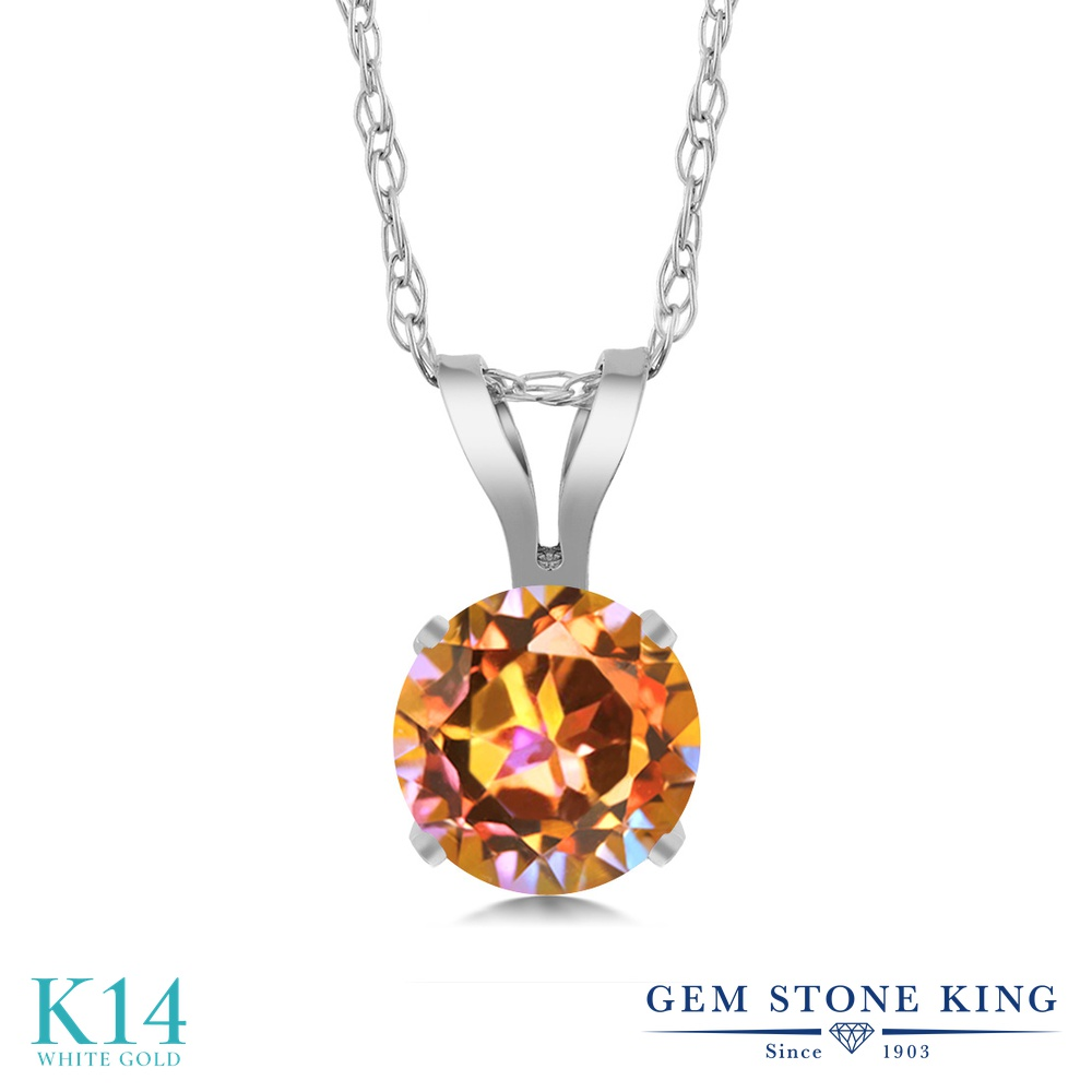Gem Stone King 0.55カラット 天然石 エクスタシーミスティックトパーズ 14金 ホワイトゴールド(K14) ネックレス ペンダント レディース 一粒 シンプル 天然石 金属アレルギー対応 誕生日プレゼント