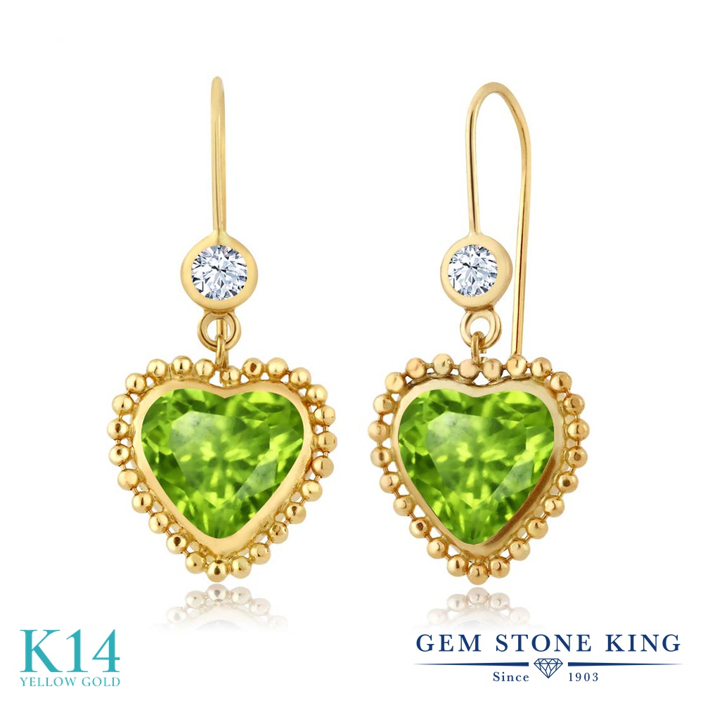 Gem Stone King 3.22カラット 天然石 ペリドット 14金 イエローゴールド(K14) ピアス レディース 大粒 ぶら下がり レバーバック 天然石 8月 誕生石 金属アレルギー対応 誕生日プレゼント