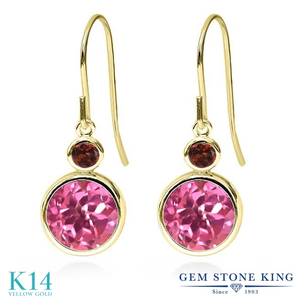 Gem Stone King 4.94カラット 天然ミスティックトパーズ(ピンク) 天然ガーネット 14金 イエローゴールド(K14) ピアス レディース 大粒 ぶら下がり フレンチワイヤー 天然石 金属アレルギー対応 誕生日プレゼント