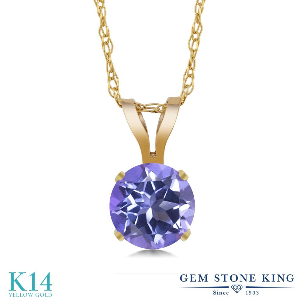 Gem Stone King 0.65カラット 天然 ミスティックトパーズ (タンザナイトブルー) 14金 イエローゴールド(K14) ネックレス ペンダント レディース 一粒 シンプル 天然石 金属アレルギー対応 誕生日プレゼント