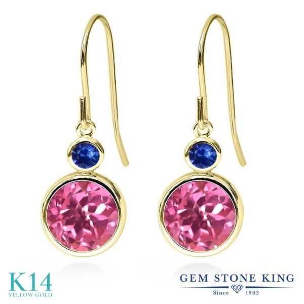 Gem Stone King 4.96カラット 天然 ミスティックトパーズ (ピンク) 天然 サファイア 14金 イエローゴールド(K14) ピアス レディース 大粒 ぶら下がり フレンチワイヤー 天然石 金属アレルギー対応 誕生日プレゼント