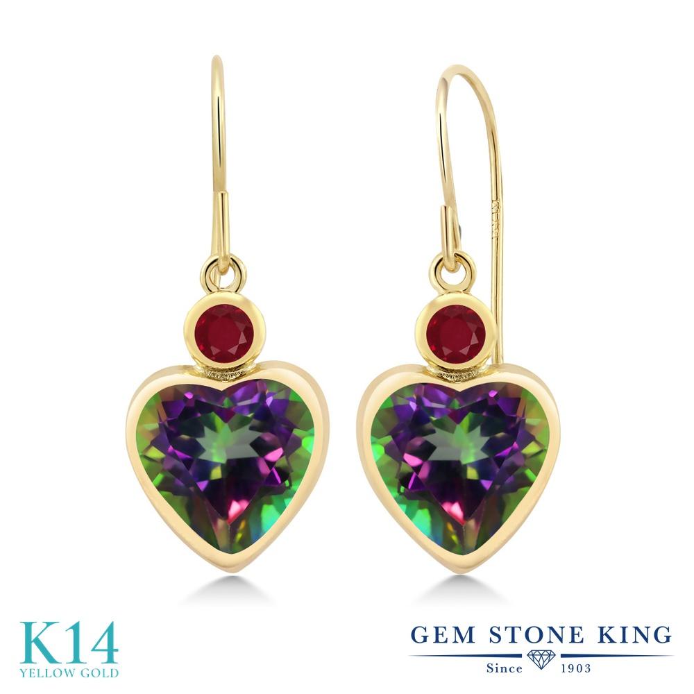 Gem Stone King 5.28カラット 天然石 ミスティックトパーズ(グリーン) 天然ルビー 14金 イエローゴールド(K14) ピアス レディース 大粒 ぶら下がり フレンチワイヤー 天然石 金属アレルギー対応 誕生日プレゼント