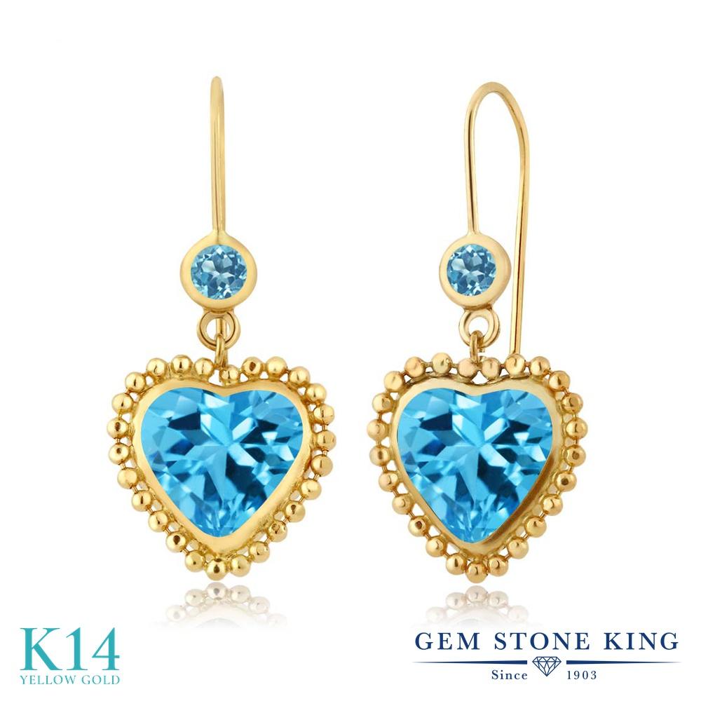 Gem Stone King 4.8カラット 天然 スイスブルートパーズ 14金 イエローゴールド(K14) ピアス レディース 大粒 ぶら下がり レバーバック 天然石 11月 誕生石 金属アレルギー対応 誕生日プレゼント