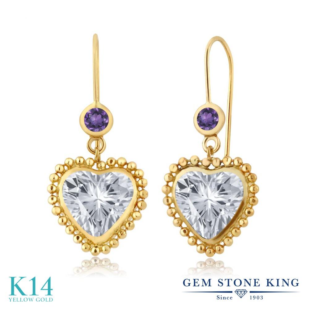 Gem Stone King 4.2カラット 天然 トパーズ (無色透明) 天然 アメジスト 14金 イエローゴールド(K14) ピアス レディース 大粒 ぶら下がり レバーバック 天然石 11月 誕生石 金属アレルギー対応 誕生日プレゼント
