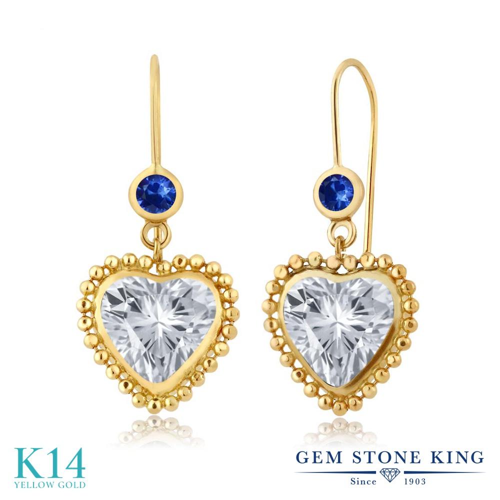 Gem Stone King 4.26カラット 天然 トパーズ (無色透明) 天然 サファイア 14金 イエローゴールド(K14) ピアス レディース 大粒 ぶら下がり レバーバック 天然石 11月 誕生石 金属アレルギー対応 誕生日プレゼント