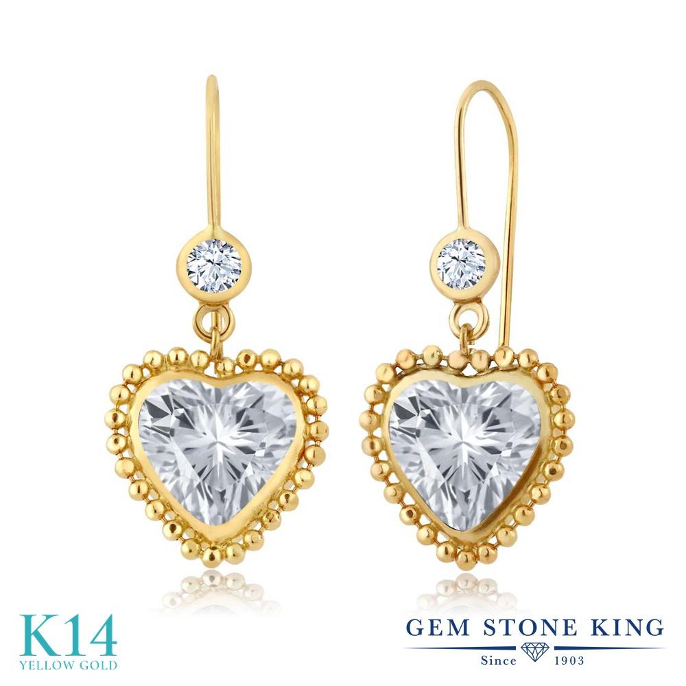 Gem Stone King 4.28カラット 天然トパーズ(無色透明) 14金 イエローゴールド(K14) ピアス レディース 大粒 ぶら下がり レバーバック 天然石 誕生石 金属アレルギー対応 誕生日プレゼント