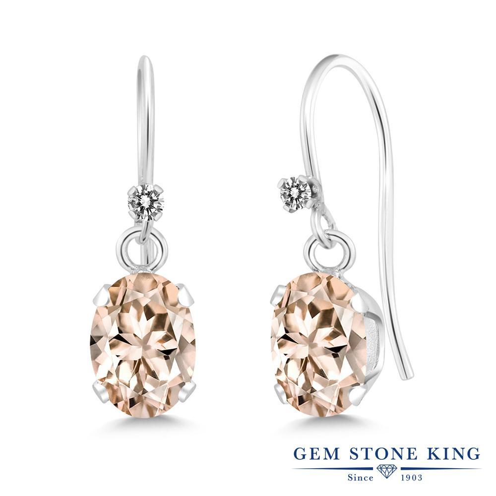 Gem Stone King 1.32カラット 天然 モルガナイト (ピーチ) 天然 ダイヤモンド シルバー925 ピアス レディース ぶら下がり フレンチワイヤー 華奢 細身 天然石 3月 誕生石 金属アレルギー対応 誕生日プレゼント