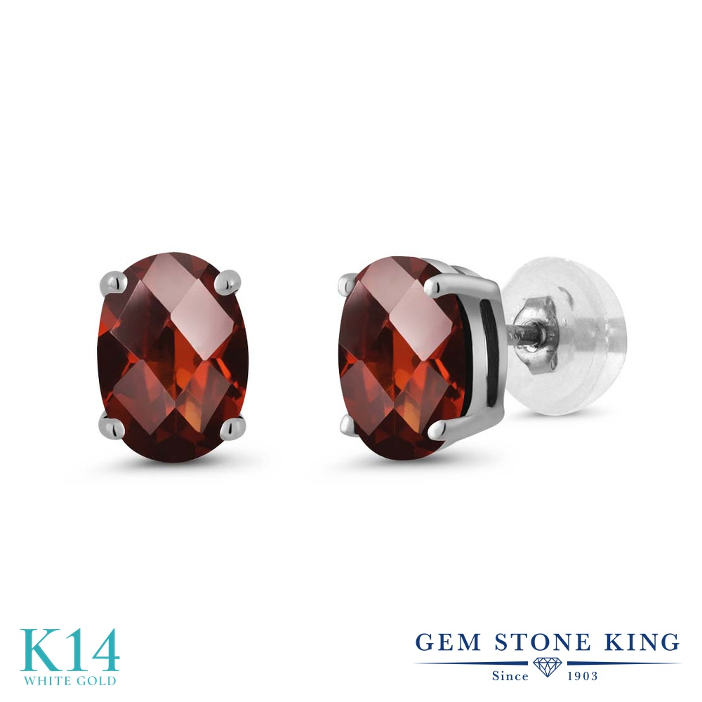 Gem Stone King 1.6カラット 天然 ガーネット ピアス レディース 14金 ホワイトゴールド K14 シンプル スタッド 天然石 1月 誕生石 金属アレルギー対応