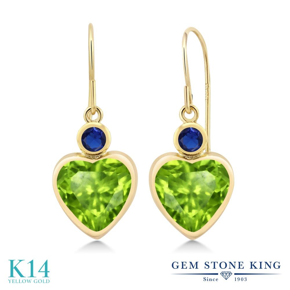 Gem Stone King 3.26カラット 天然石ペリドット シミュレイテッドサファイア 14金 イエローゴールド(K14) ピアス レディース 大粒 ぶら下がり フレンチワイヤー 天然石 誕生石 金属アレルギー対応 誕生日プレゼント