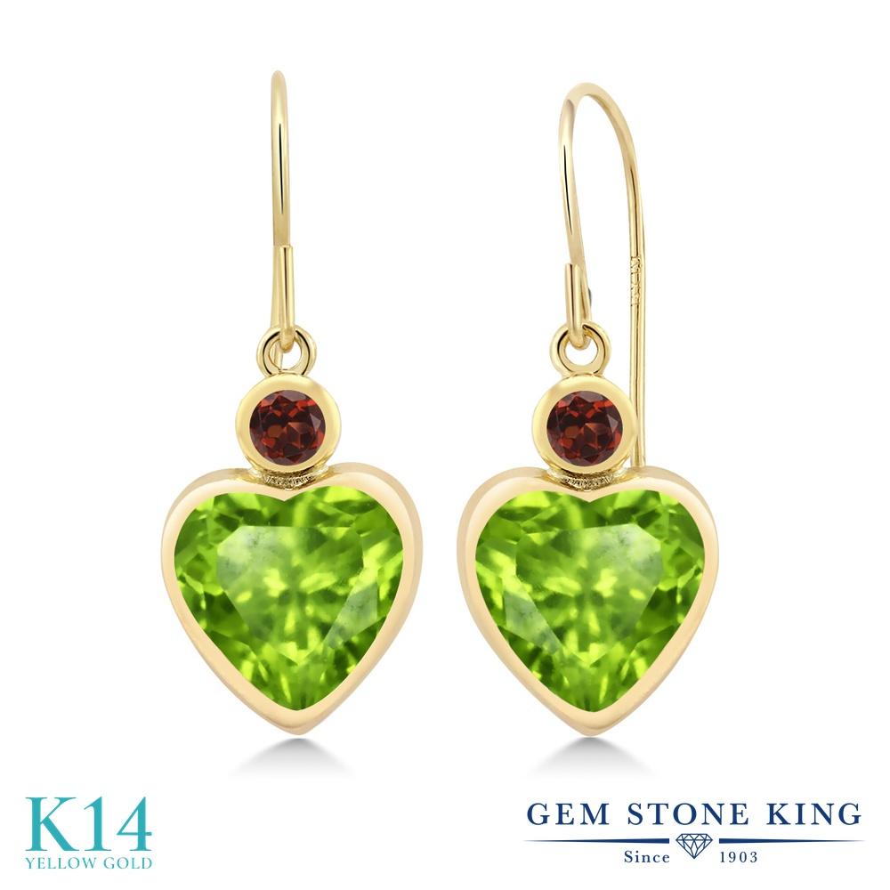 Gem Stone King 3.24カラット 天然石ペリドット 天然ガーネット 14金 イエローゴールド(K14) ピアス レディース 大粒 ぶら下がり フレンチワイヤー 天然石 誕生石 金属アレルギー対応 誕生日プレゼント