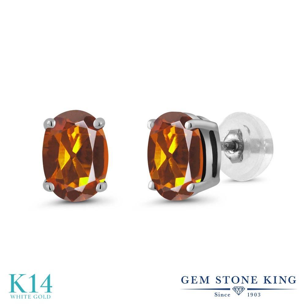 Gem Stone King 1.40カラット 天然マデイラシトリン(オレンジレッド) 14金 ホワイトゴールド(K14) ピアス レディース シンプル スタッド 天然石 金属アレルギー対応 誕生日プレゼント