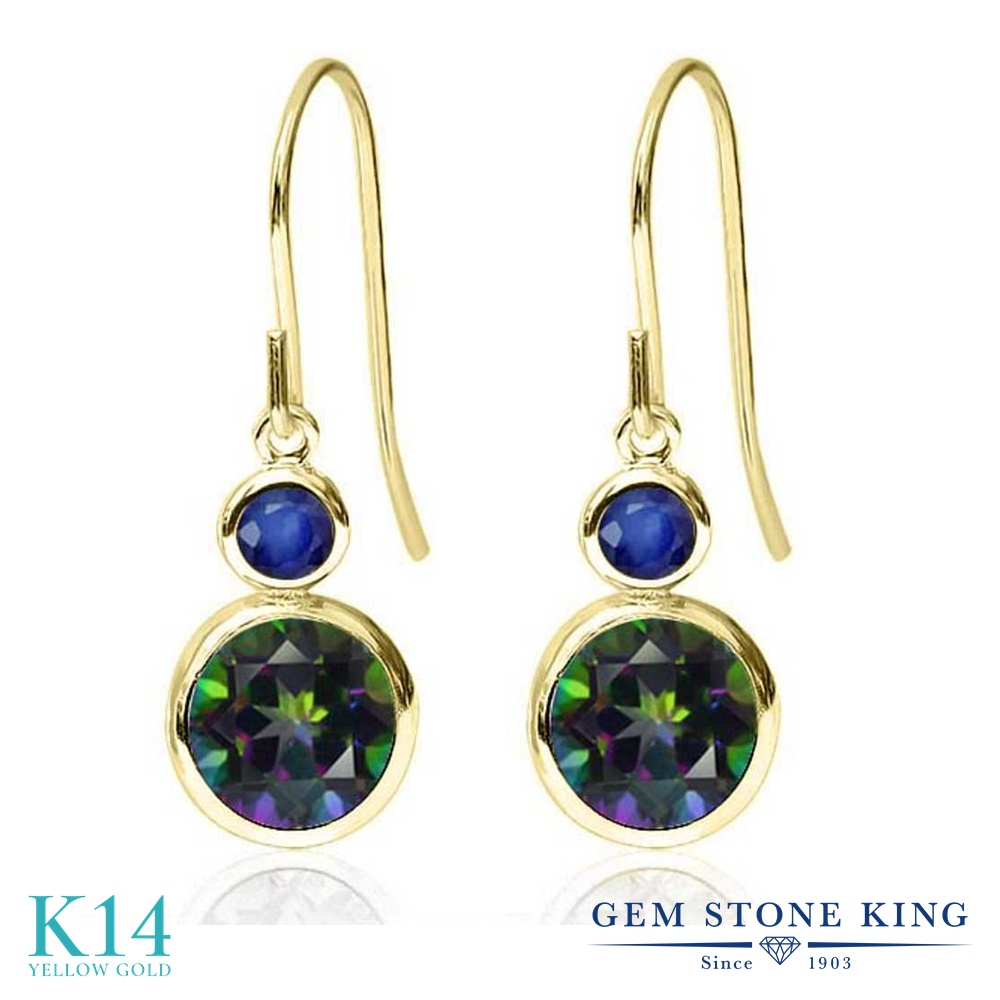 Gem Stone King 2.26カラット 天然石 ミスティックトパーズ (グリーン) 天然 サファイア 14金 イエローゴールド(K14) ピアス レディース 大粒 ぶら下がり フレンチワイヤー 天然石 金属アレルギー対応 誕生日プレゼント