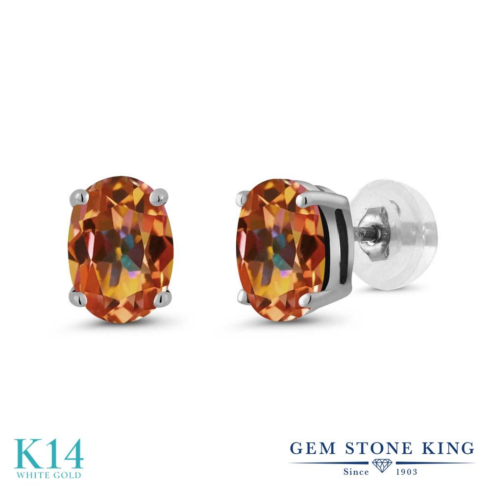 Gem Stone King 1.60カラット 天然石 エクスタシーミスティックトパーズ 14金 ホワイトゴールド(K14) ピアス レディース シンプル スタッド 天然石 金属アレルギー対応 誕生日プレゼント