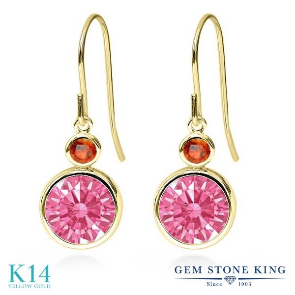 Gem Stone King 4.34カラット スワロフスキージルコニア (ファンシーピンク) 天然 オレンジサファイア 14金 イエローゴールド(K14) ピアス レディース CZ 大粒 ぶら下がり フレンチワイヤー 金属アレルギー対応 誕生日プレゼント