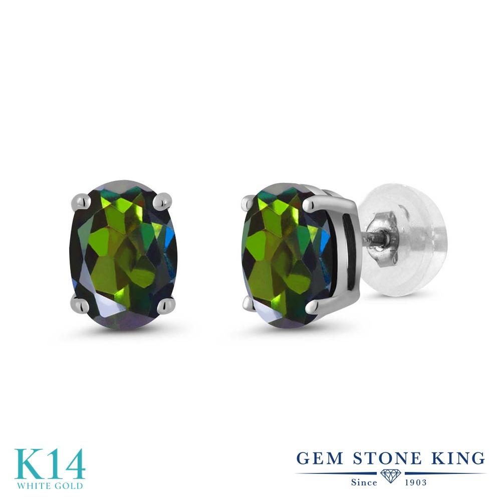 Gem Stone King 1.60カラット 天然ミスティックトパーズ(トルマリングリーン) 14金 ホワイトゴールド(K14) ピアス レディース シンプル スタッド 天然石 金属アレルギー対応 誕生日プレゼント