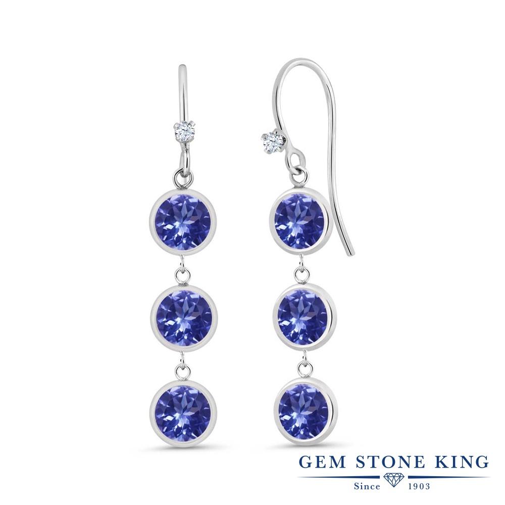 Gem Stone King 2.79カラット 天然石 タンザナイト シルバー925 ピアス レディース 小粒 ぶら下がり フレンチワイヤー 華奢 細身 天然石 12月 誕生石 金属アレルギー対応 誕生日プレゼント