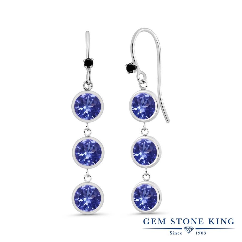 Gem Stone King 2.79カラット 天然石 タンザナイト 天然ブラックダイヤモンド シルバー925 ピアス レディース 小粒 ぶら下がり フレンチワイヤー 華奢 細身 天然石 12月 誕生石 金属アレルギー対応 誕生日プレゼント