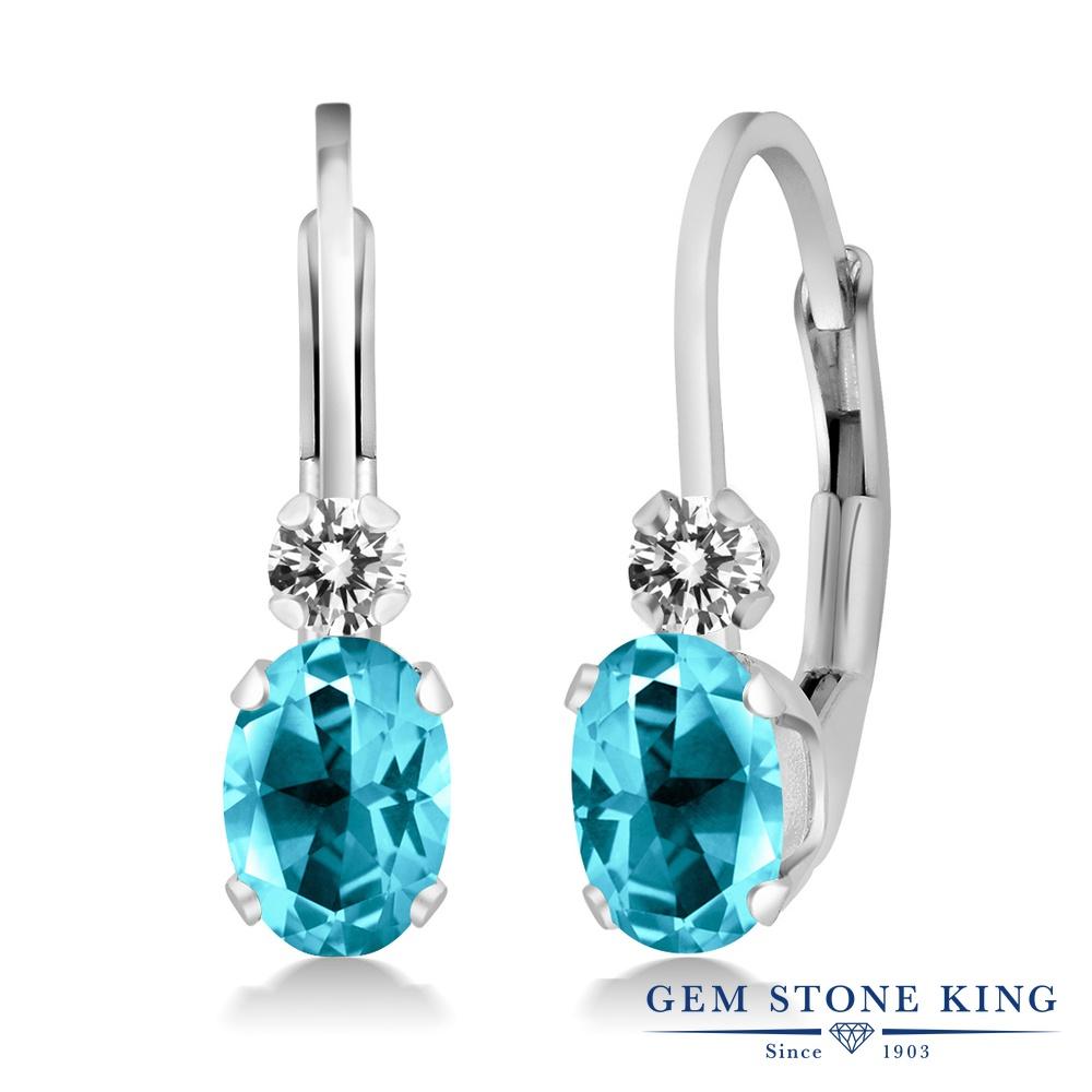 Gem Stone King 2.07カラット 天然石 パライバトパーズ (スワロフスキー 天然石シリーズ) 天然 ダイヤモンド シルバー925 ピアス レディース 大粒 フープ レバーバック 天然石 金属アレルギー対応 誕生日プレゼント