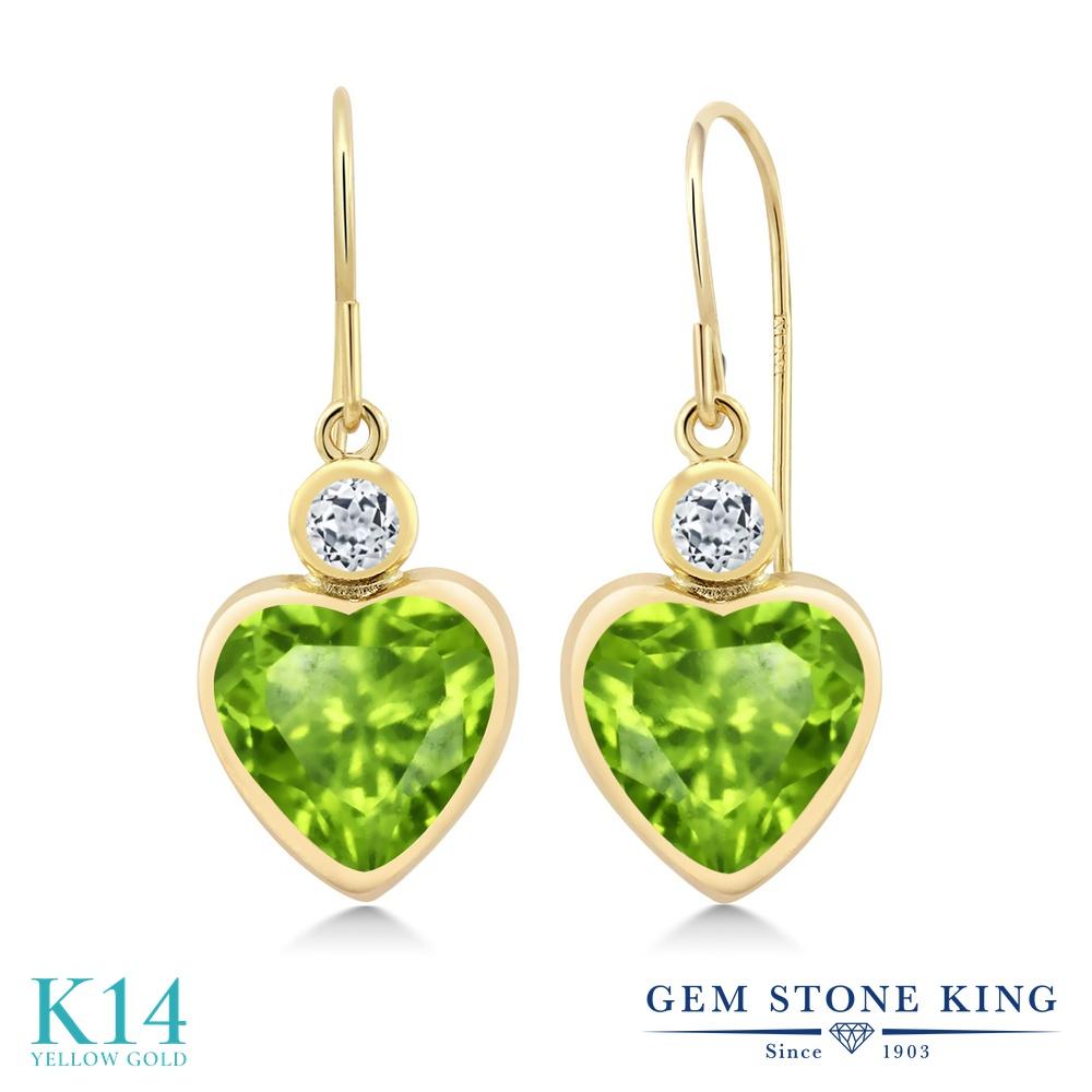 Gem Stone King 3.28カラット 天然石ペリドット 天然トパーズ(無色透明) 14金 イエローゴールド(K14) ピアス レディース 大粒 ぶら下がり フレンチワイヤー 天然石 誕生石 金属アレルギー対応 誕生日プレゼント
