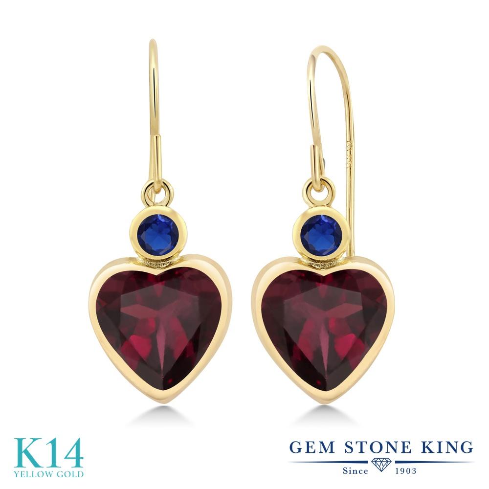 Gem Stone King 4.26カラット 天然 ロードライトガーネット シミュレイテッド サファイア 14金 イエローゴールド(K14) ピアス レディース 大粒 ぶら下がり フレンチワイヤー 天然石 金属アレルギー対応 誕生日プレゼント