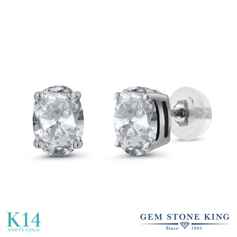 Gem Stone King 1.9カラット 天然 トパーズ ピアス レディース 14金 ホワイトゴールド K14 シンプル スタッド 天然石 11月 誕生石 金属アレルギー対応