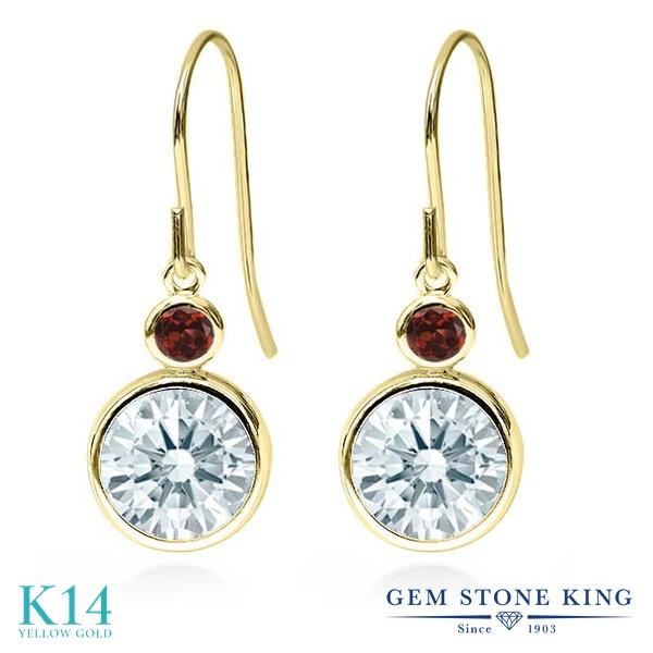 Gem Stone King 4.32カラット スワロフスキージルコニア(無色透明) 天然ガーネット 14金 イエローゴールド(K14) ピアス レディース CZ 大粒 ぶら下がり フレンチワイヤー 金属アレルギー対応 誕生日プレゼント