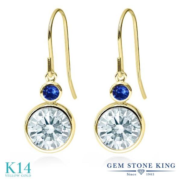 Gem Stone King 4.34カラット スワロフスキージルコニア (無色透明) 天然 サファイア 14金 イエローゴールド(K14) ピアス レディース CZ 大粒 ぶら下がり フレンチワイヤー 金属アレルギー対応 誕生日プレゼント