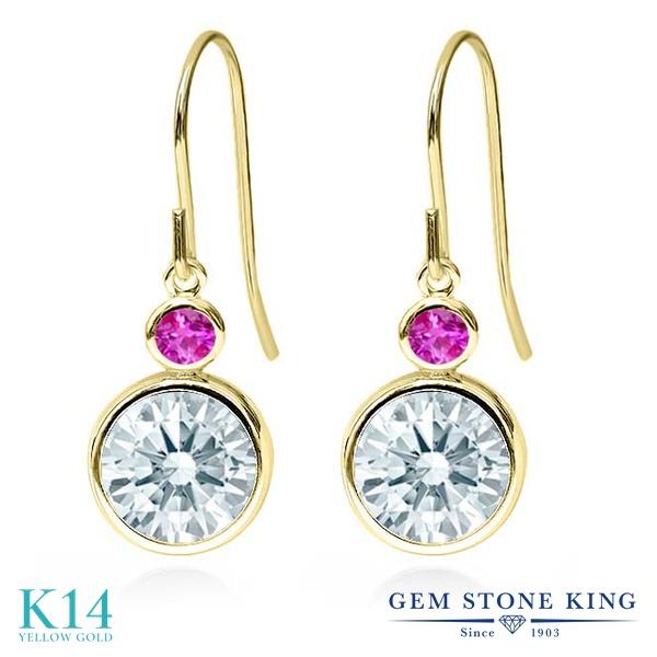 Gem Stone King 4.34カラット スワロフスキージルコニア (無色透明) 天然 ピンクサファイア 14金 イエローゴールド(K14) ピアス レディース CZ 大粒 ぶら下がり フレンチワイヤー 金属アレルギー対応 誕生日プレゼント
