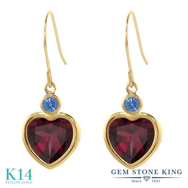 Gem Stone King 4.22カラット 天然 ロードライトガーネット 14金 イエローゴールド(K14) ピアス レディース 大粒 ぶら下がり フレンチワイヤー 天然石 金属アレルギー対応 誕生日プレゼント