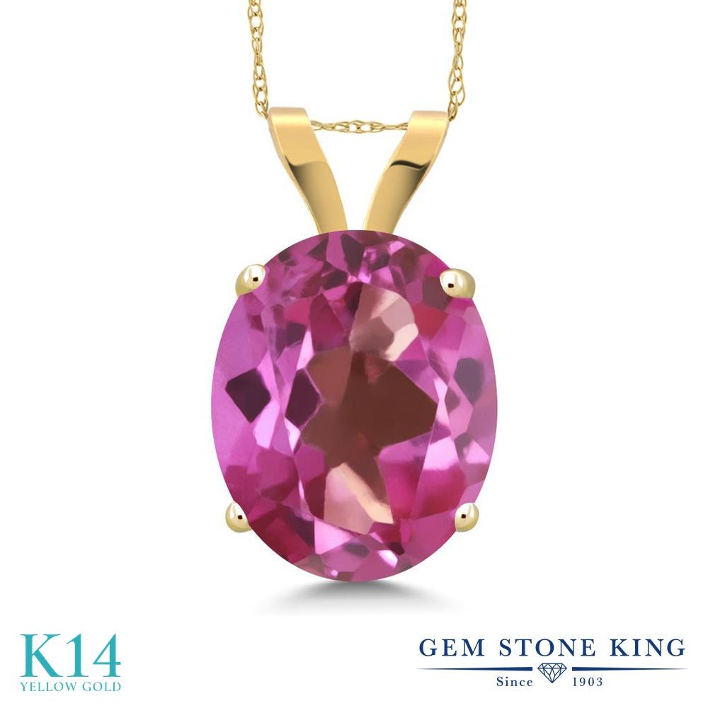 Gem Stone King 3.60カラット 天然ミスティックトパーズ(ピンク) 14金 イエローゴールド(K14) ネックレス ペンダント レディース 大粒 一粒 シンプル 天然石 金属アレルギー対応 誕生日プレゼント