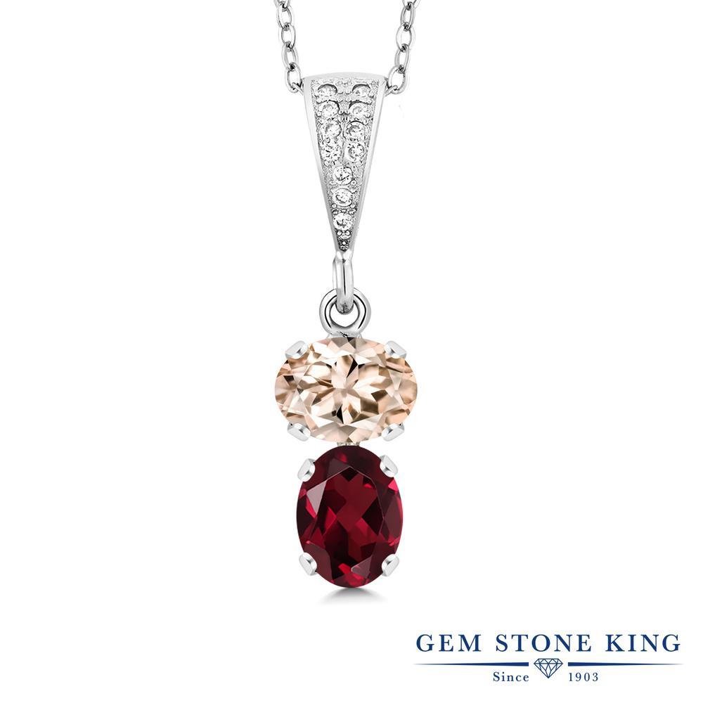 Gem Stone King 2.42カラット 天然 モルガナイト (ピーチ) 天然 ロードライトガーネット シルバー925 ネックレス ペンダント レディース 大粒 天然石 3月 誕生石 金属アレルギー対応 誕生日プレゼント