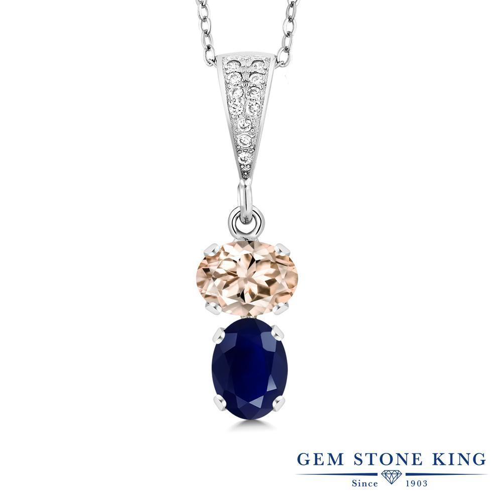 Gem Stone King 2.86カラット 天然 モルガナイト (ピーチ) 天然 サファイア シルバー925 ネックレス ペンダント レディース 大粒 天然石 3月 誕生石 金属アレルギー対応 誕生日プレゼント