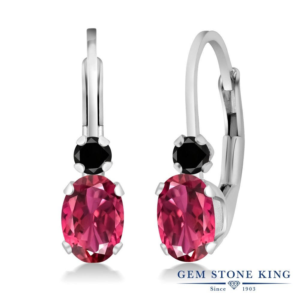 Gem Stone King 1.07カラット 天然 ピンクトルマリン 天然ブラックダイヤモンド シルバー925(純銀) ピアス レディース 小粒 ぶら下がり レバーバック 華奢 細身 天然石 10月 誕生石 金属アレルギー対応 誕生日プレゼント