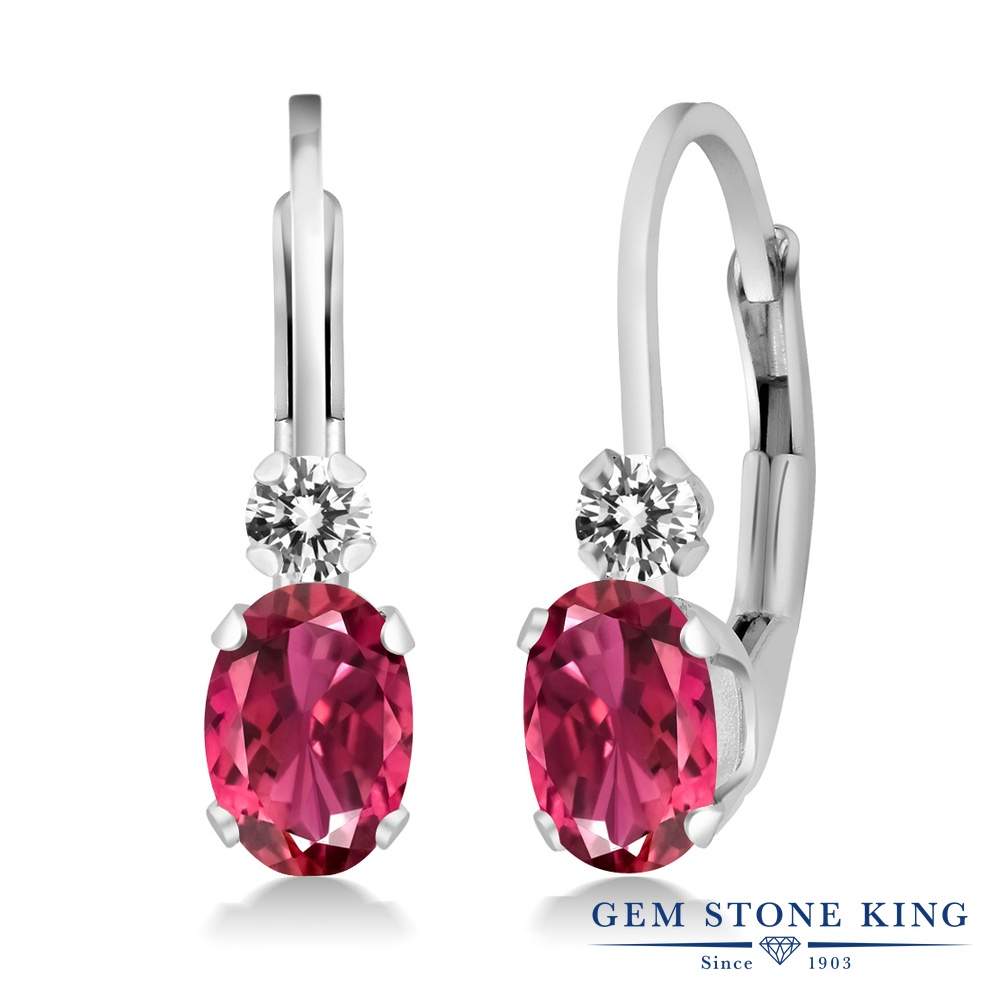 Gem Stone King 0.83カラット 天然 ピンクトルマリン 天然 ダイヤモンド シルバー925 ピアス レディース 小粒 ぶら下がり レバーバック 華奢 細身 天然石 10月 誕生石 金属アレルギー対応 誕生日プレゼント