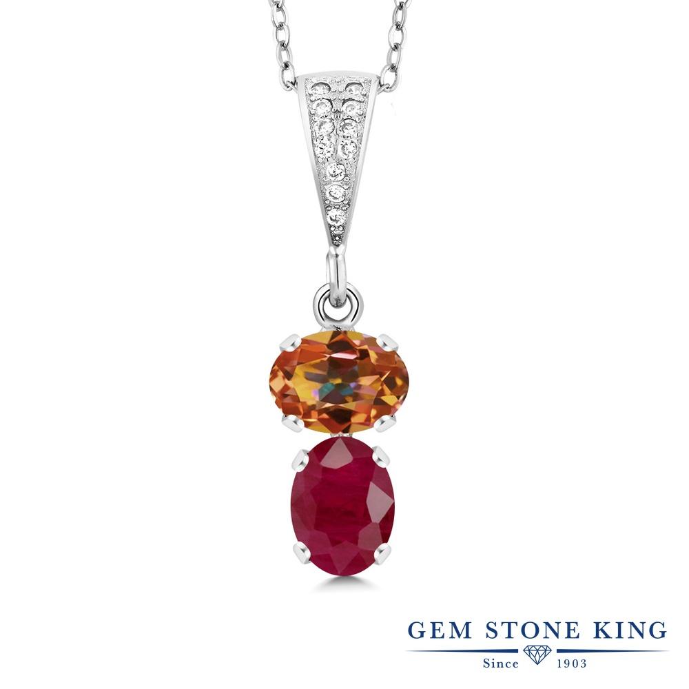 Gem Stone King 2.97カラット 天然石 エクスタシーミスティックトパーズ 天然 ルビー シルバー925 ネックレス ペンダント レディース 大粒 天然石 金属アレルギー対応 誕生日プレゼント