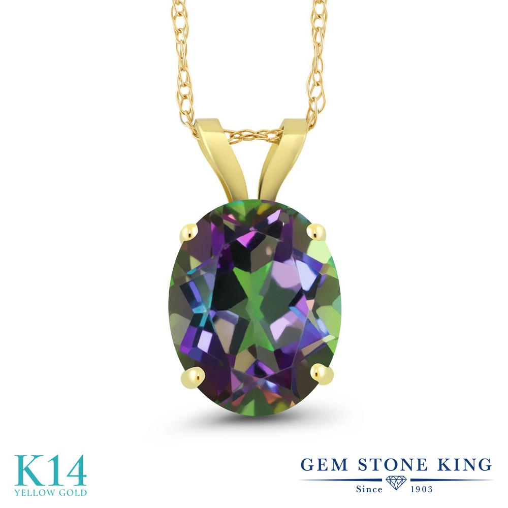 Gem Stone King 2.7カラット 天然石 ミスティッククォーツ (グリーン) 14金 イエローゴールド(K14) ネックレス ペンダント レディース 大粒 一粒 シンプル 天然石 金属アレルギー対応 誕生日プレゼント