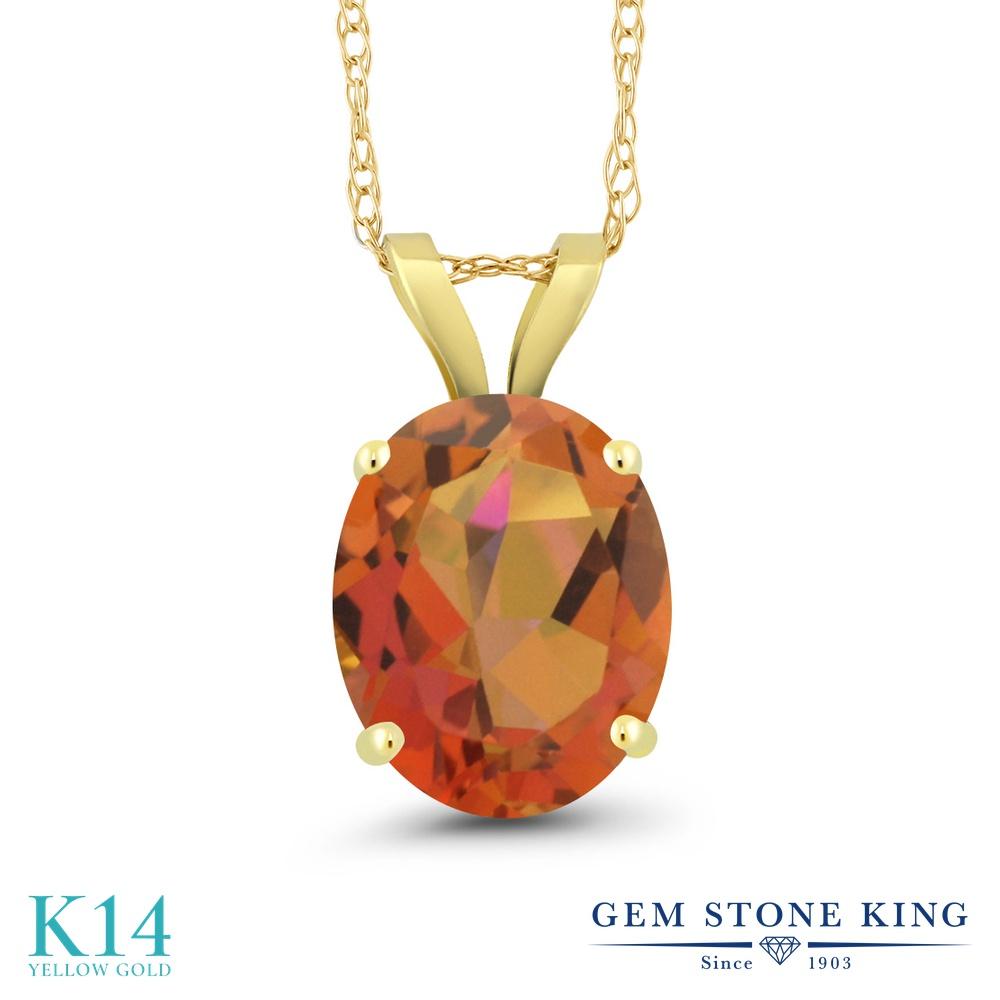 Gem Stone King 2.7カラット 天然 ミスティッククォーツ (トワイライトオレンジ) 14金 イエローゴールド(K14) ネックレス ペンダント レディース 大粒 一粒 シンプル 天然石 金属アレルギー対応 誕生日プレゼント